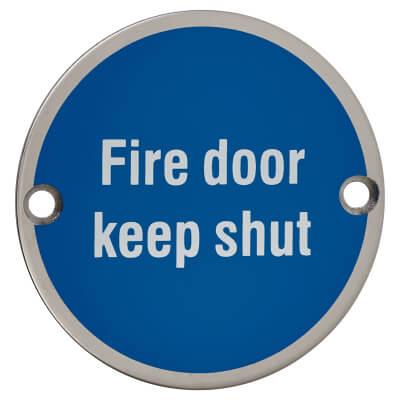 Fire Door Keep Shut - 75mm - Polished Stainless Steel)