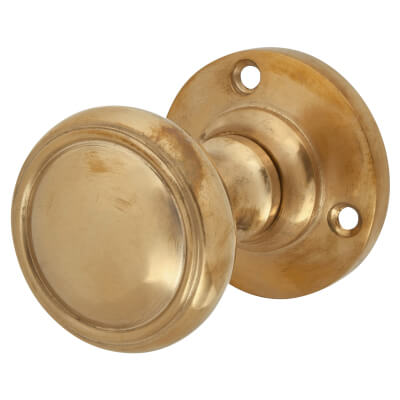 Louis Fraser Ribbed Door Knob on Round Rose - Light Bronze)