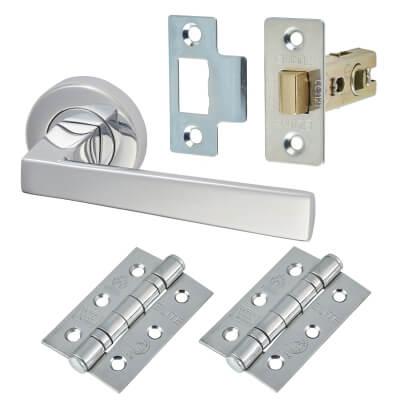 M Marcus Siloh Door Handle - Door Kit - Polished Chrome