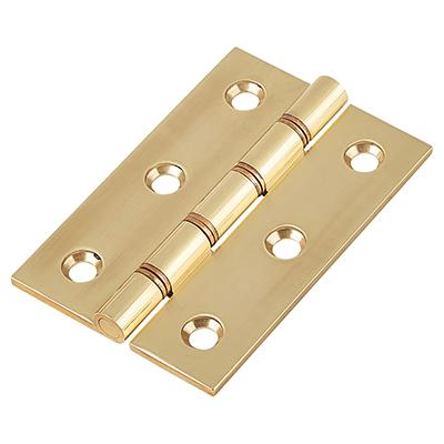 Double Phosphor Bronze Washered Hinge - 75 x 50 x 2.5mm - Polished Brass