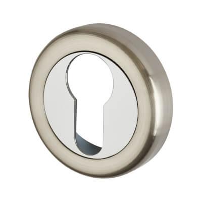 Morello Escutcheon - Euro - Satin Nickel/Polished Chrome)