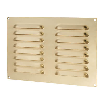 Hooded Louvre Vent - 242 x 165mm - 6600mm2 Free Air Flow - Polished Brass