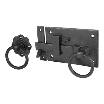Olde Forge Cottage Latch - 150 x 100mm - Right Hand - Antique Black Iron)