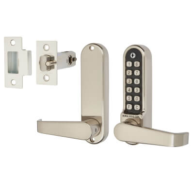 Borg BL5401 Easicode Pro Code Operated Lock with Flat Bar Lever Handles - Stainless Steel)