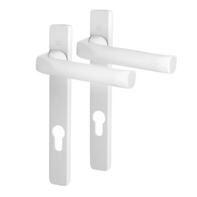 Hoppe - uPVC/Timber - Aluminium Multipoint Door Handle - 92mm Centres - White Aluminium