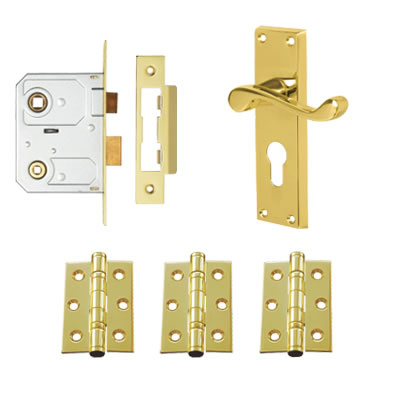 Aglio Victorian Scroll Handle Door Kit - Euro Lock Set - Polished Brass