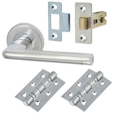 M Marcus Lena Lever Door Handle on Rose - Door Kit - Satin/Polished Chrome