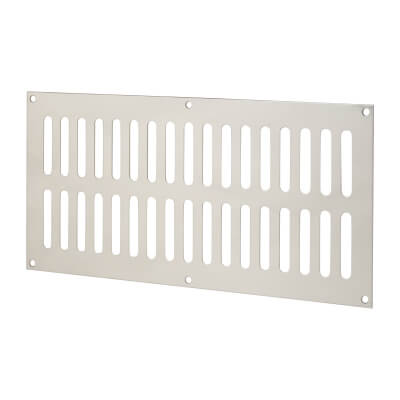 Plain Slotted Vent - 305 x 152mm - 11590mm2 Free Air Flow - Polished Stainless Steel