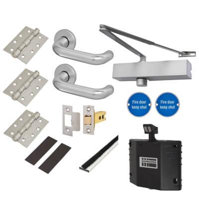 Medium Duty Lever on Rose Fire Door Kit with Hold Open Device - Latch - Aluminium