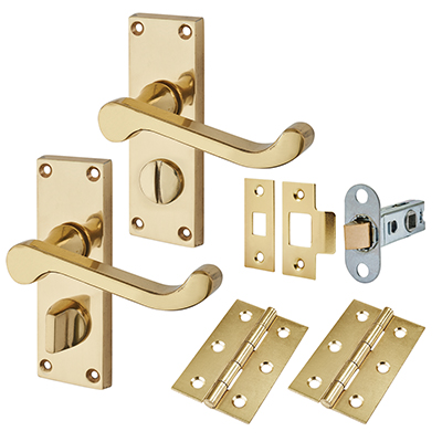 Touchpoint Budget Scroll Door Handle Kit - Privacy Set - Polished Brass