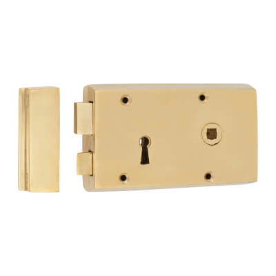 Rim Lock - Right Hand - Solid Brass)