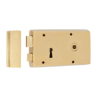 Rim Lock - Right Hand - Solid Brass)