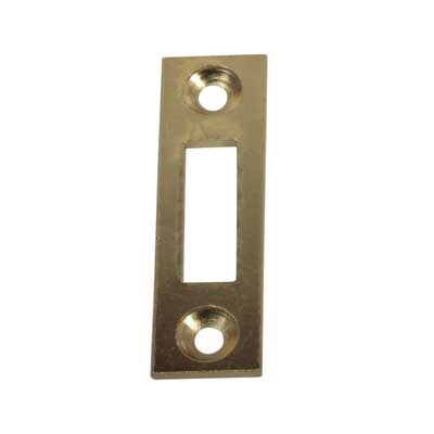 Square End Mortice Strike - 50 x 15mm - Brass Plated - Pack 10