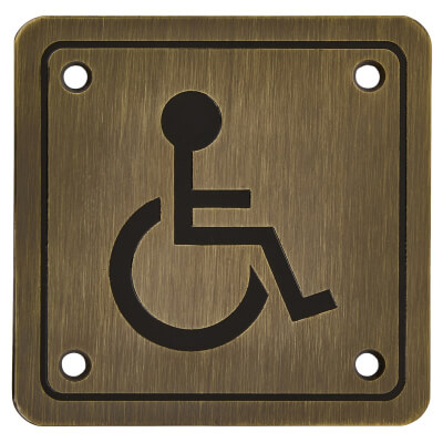 Disabled Square Toilet Door Sign - 100 x 100mm - Antique Brass