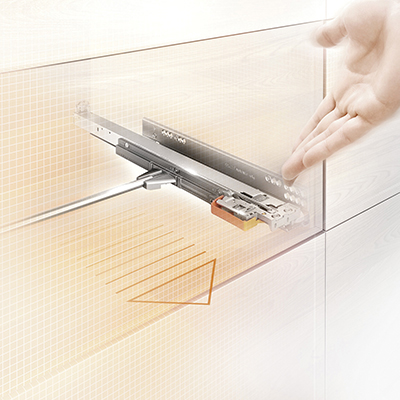 Blum Movento TIP-ON Drawer Runner - Double Extension - 40kg - 450mm