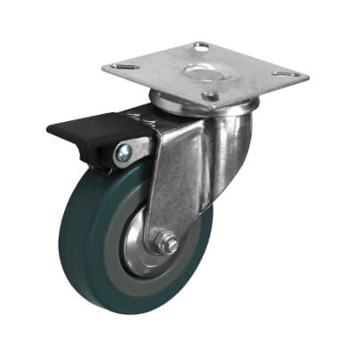 Coldene General Purpose Castor - Swivel Braked - 55kg Maximum Weight - Grey)