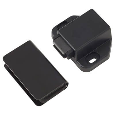 Magnetic Touch Latch for Glass Door with Counter Piece - 43 x 30mm - Black)