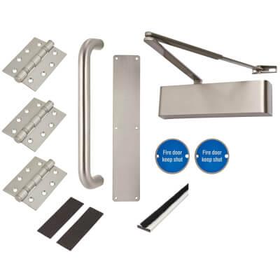 Heavy Duty Pull Handle Fire Door Kit - Stainless Steel