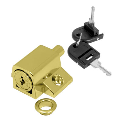 Push Type Window Lock - Keyed Alike Differ 2 - Brass Plated