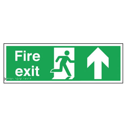 Fire Exit Sign - Up Arrow - Braille