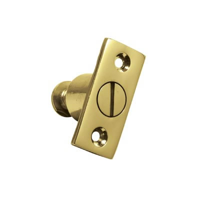 Screw Out Sash Stop - 44 x 19mm - Polished Brass