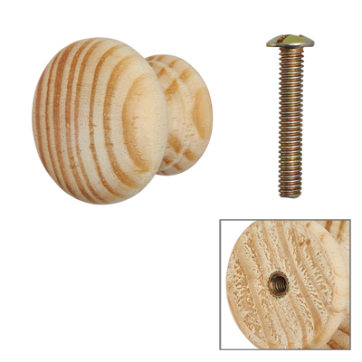 Touchpoint Cabinet Knob with Bolt & Insert - 30mm - Pine