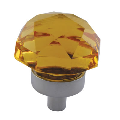 Aglio Floral Coloured Glass Cabinet Knob - 25mm - Polished Chrome/Yellow