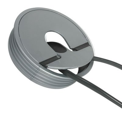 Round 2-piece Fliptop Cable Port - 80mm - Silver)