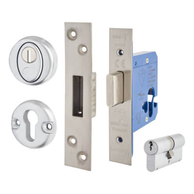 A-Spec BS3621 Euro Deadlock & Double Cylinder - 65mm Case - 44mm Backset - Satin Stainless)