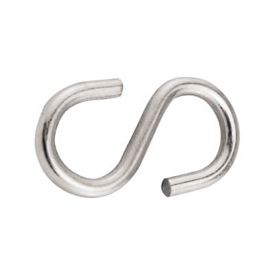 S Hook - 4mm - Zinc Plated - Pack 10