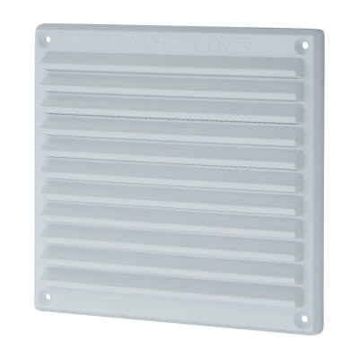 Louvre Vent with Flyscreen - 166 x 160mm - 6423mm2 Free Air Flow - White Plastic