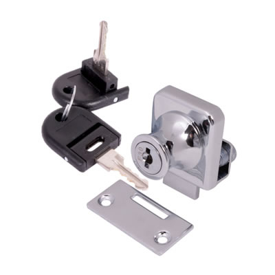 Square Single Glass Door Lock - 25mm - Chrome Plated)