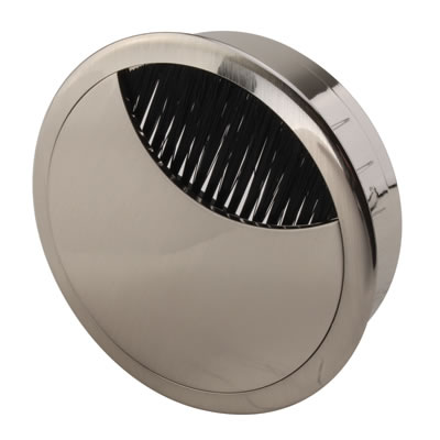 ION Mirror Effect Round Cable Tidy - 80mm - Brushed Nickel