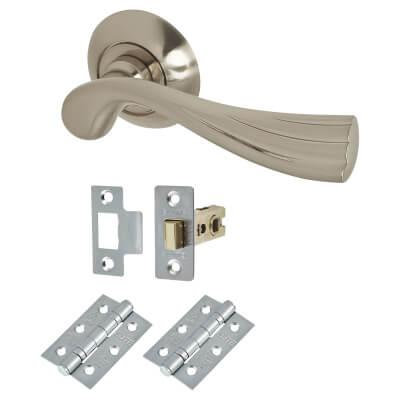 Elan Genoa Door Handle - Door Kit - Satin Nickel
