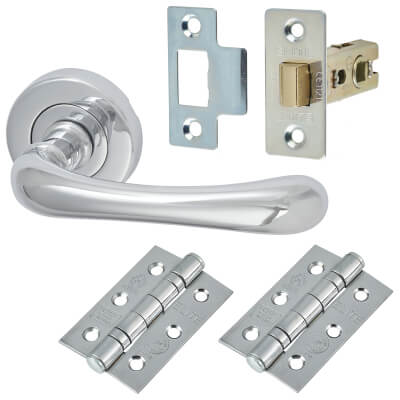 M Marcus Donna Lever Door Handle on Rose - Door Kit - Polished Chrome