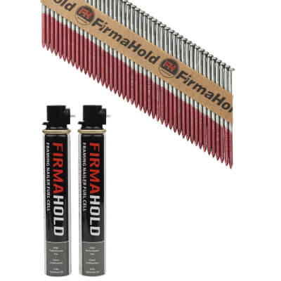 TIMco 34° FirmaHold Clipped Head Nail and Gas - First Fix - 3.1 x 75mm - FirmaGalv - 2 Fuel Cells