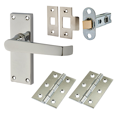 Touchpoint Budget Straight Door Handle Kit - Latch Set - Polished Chrome