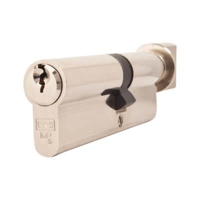 5 Pin Cylinder - Euro Thumbturn - Length 90mm - 40[k] + 50mm - Nickel