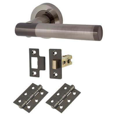 Touchpoint Bella Lever Door Handle on Rose - Door Kit - Black/Satin Nickel)