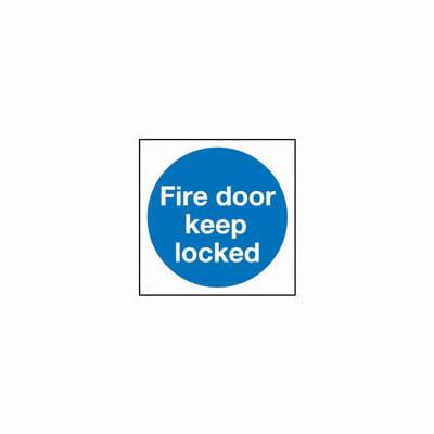 Fire Door Keep Locked - 100 x 100mm - Rigid Plastic - Pack 10)
