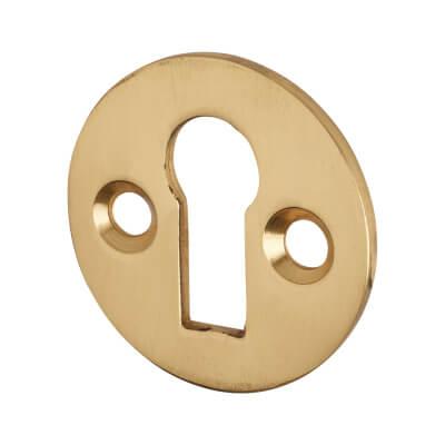 Victorian Escutcheon - Keyhole - Polished Brass