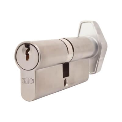 UNION® J2X28 Cylinder - Euro Double & Thumbturn - 37[k]* + 37mm - Satin Chrome)