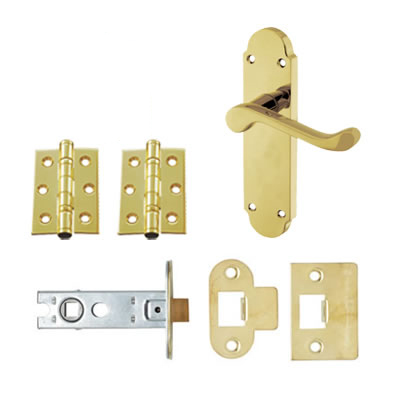 Aglio Victorian Summer Door Kit - Latch Set - PVD Brass