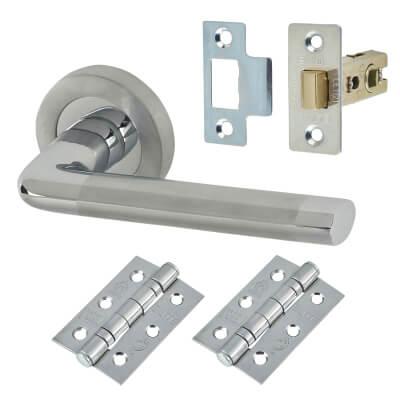 Elan - Belmonte Door Handle - Door Kit - Polished/Satin Chrome