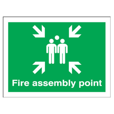 Fire Assembly Point Group - 450 x 600mm - Rigid Plastic