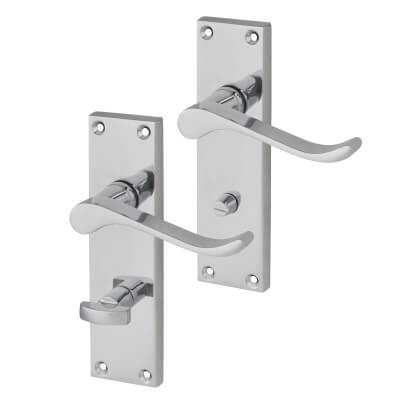 Touchpoint Budget Scroll Door Handle - Bathroom Set - Polished Chrome