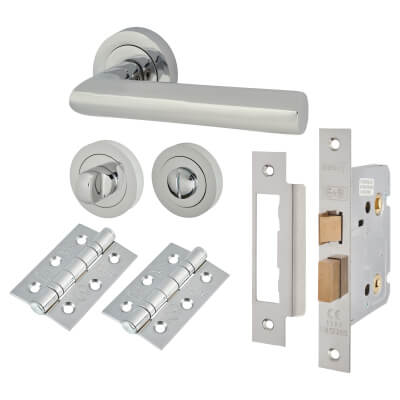 Touchpoint Emily Lever Door Handle - Bathroom Lock Kit - Polished Chrome