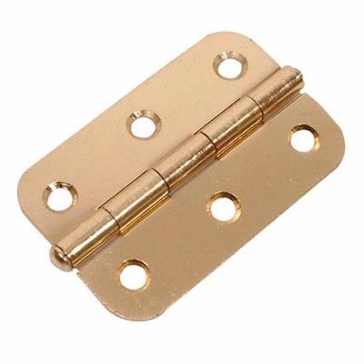 Loose Pin Radius Steel Hinge - 75 x 50mm - Brass Plated - Pair