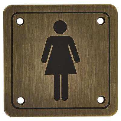 Ladies Square Toilet Door Sign - 100 x 100mm - Antique Brass