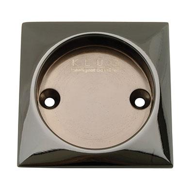KLÜG Square Screw Fixed Flush Handle - 63 x 63mm - Polished Black Nickel